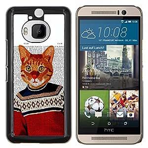 Gato anaranjado de jengibre Garfield Amarillo- Metal de aluminio y de plástico duro Caja del teléfono - Negro - HTC One M9+ / M9 Plus (Not M9)