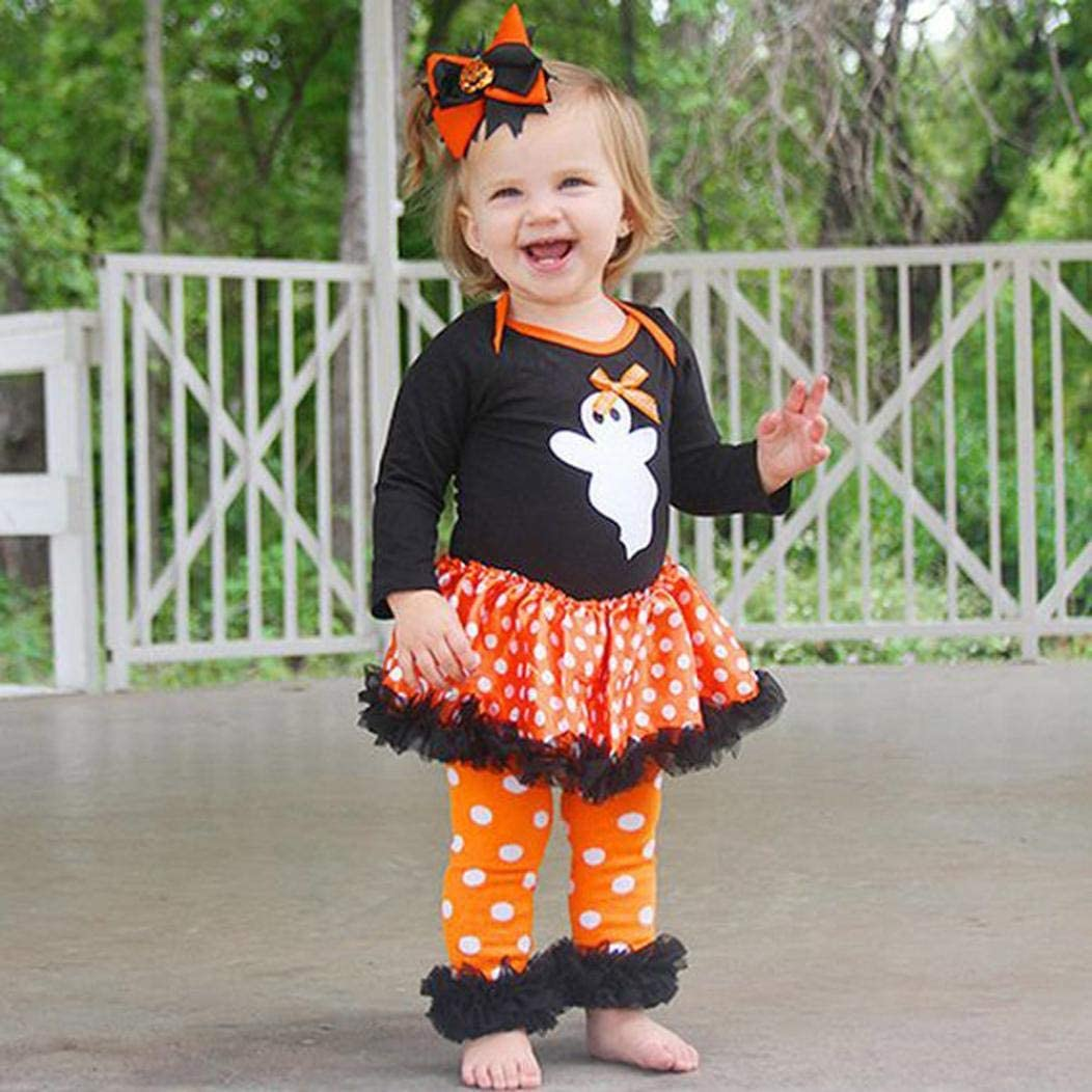 Halloween Kids Outfits,Fineser Newborn Baby Girls Ghost Dot Dress Romper Pants Halloween Outfits Clothes 2 Set