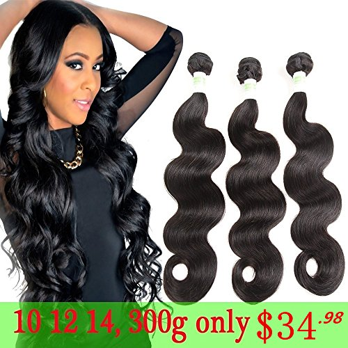 Grand Nature 9A Unprocessed Brazilian Virgin Remy Human Hair Extensions Body Wave Bundles Deal Natural Black Color Can Be Dyed Bleached (With Lace Closure)