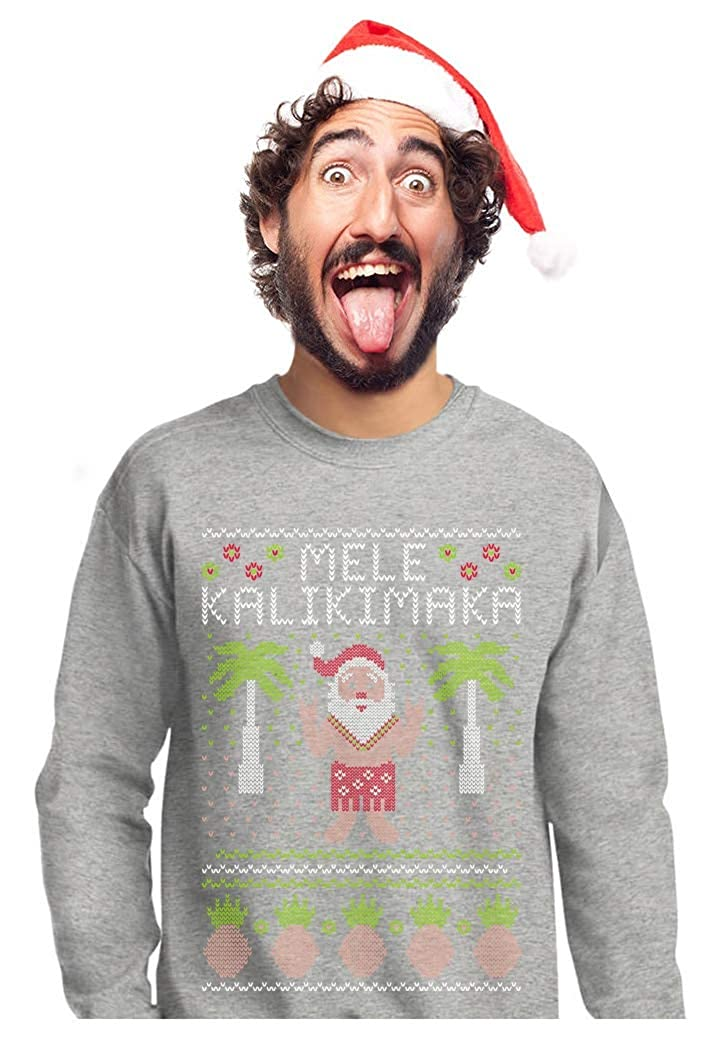 Mele Kalikimaka Hawaiian Santa Themed Ugly Christmas Sweater Sweatshirt GMPlhhtgf