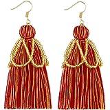 Ldurian Tassel Dangle Earrings Green Bead Fringe Thread Drop Earring Handmade Jewelry for Women