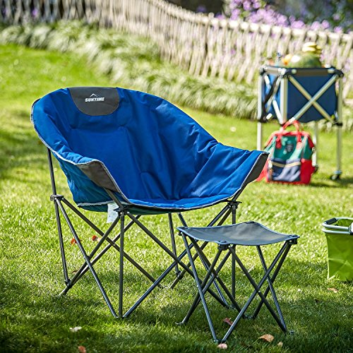 OUTDOOR LIVING SUNTIME Sofa Chair with Footstool, Oversize Padded Moon Leisure Portable Stable Comfortable Folding Chair for Camping, Hiking, Carry Bag Included -