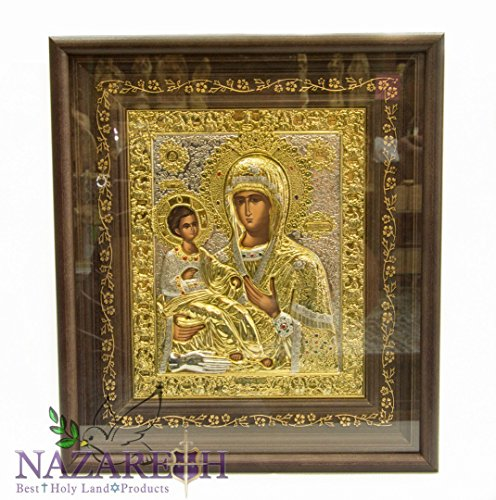 Amazing Silver 15'' Icon Of Virgin Mary With Baby Jesus 24ct Gold Jerusalem Holy Land by Holy Land Gifts