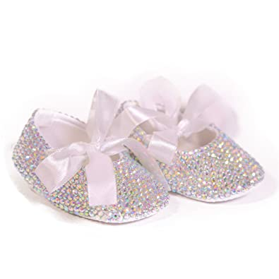 Dollbling AB Crystal Sparkle Bling White Ribbon Bow Handmade Newborn  Princess Baby Girl Shoes cfc2ee6b8787