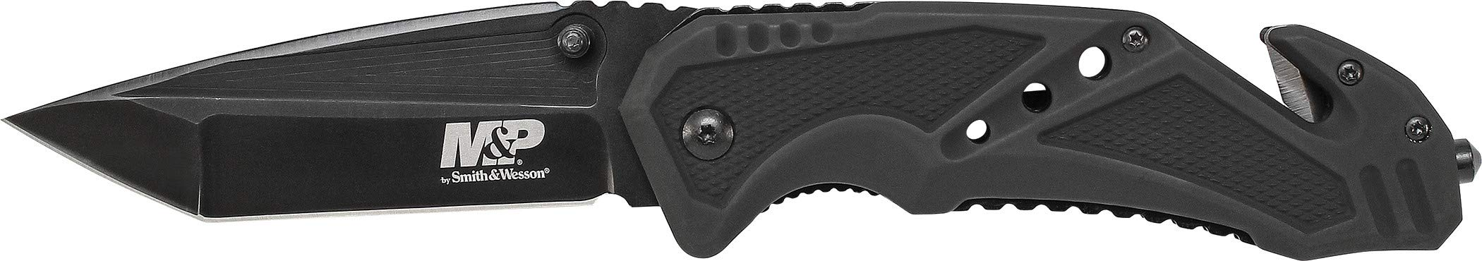 Smith & Wesson M&P SWMP11B 8.9in High Carbon S.S. Folding Knife with 3.8in Tanto Point Blade and Aluminum Handle for Outdoor, Tactical, Survival and EDC by Smith & Wesson