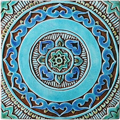 Beau Garden Decor Wall Tile 11.8u0026quot; With Mandala Design Glazed In Turquoise,  Outdoor Decorative Tile