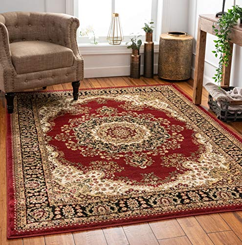Well Woven Medallion Oriental Persian Area Rug Red 3x5 4x6 (3'11