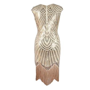 8fcab94d202 Amazon.com  Bixiangjim Formal Dress  Shiny Sequin Fashion Tassel Party  Banquet Women O Neck Sleeveless Dress Gift M  Clothing