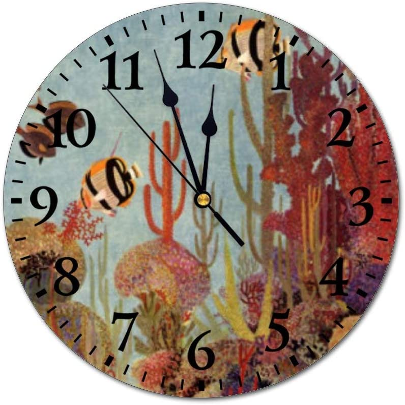 """PotteLove 12"""" Silent Vintage Wooden Round Wall Clock Non Ticking Quartz Battery Operated, Vintage Fish in Ocean Tropical Coral Angelfish Rustic Chic Style Wooden Round Home Decor Wall Clock"""