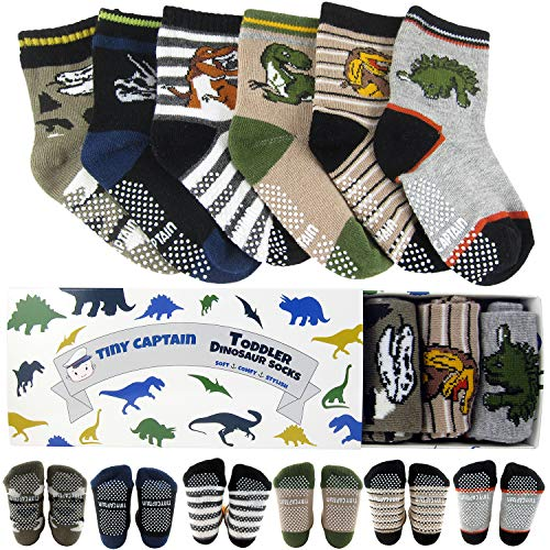 Tiny Captain Toddler Boy Dinosaur Sock 1-3 Year Old Baby Non Slip Grip 8-36 Months Gift Set 6 Pack (Dark Colors) ()