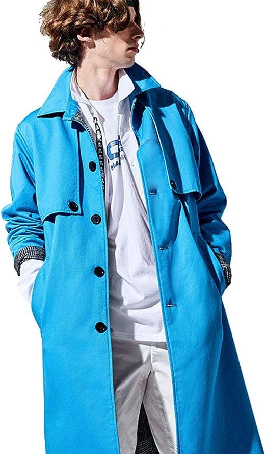 Abrigos Rompeviento Gabardina Larga para Hombres Un Solo Botonadura Top Suelto 100% algodón Abrigos Chalecos Chaquetas (Color : Blue, Size : M/170): Amazon.es: Hogar