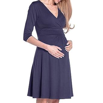ALIKEEY La Mujer Es El Embarazo con Cuello En V Vestido De Maternidad Ropa De Verano Color Solido Sundress Chaqueta Chaleco Cocinero Ignifuga: Amazon.es: ...