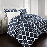 Sleep Restoration 2200 Series Luxury Goose Down Alternative Quatrefoil Comforter Set - Premium Hypoallergenic All Season Duvet - Full/Queen - Navy