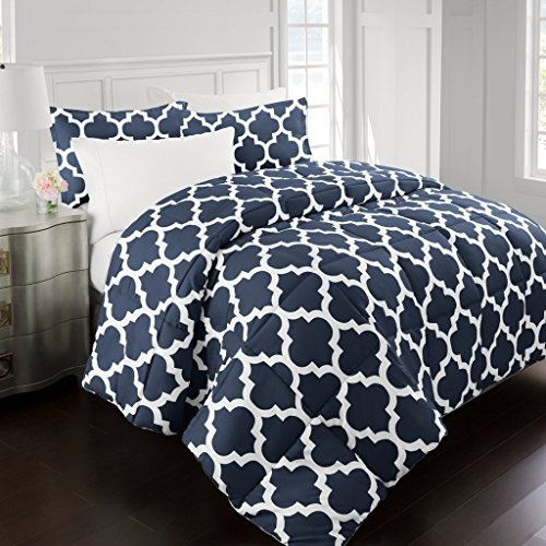 Sleep Restoration 2200 Series Luxury Goose decrease alternate Quatrefoil Comforter Set - Premium Hypoallergenic All Season Duvet - Full/Queen - Navy