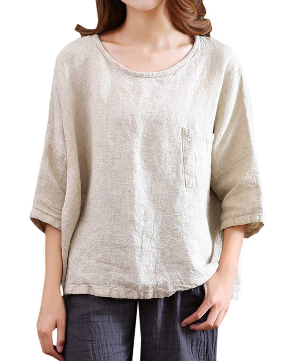 Tops Mujeres Suelto Lino T-Shirt Blusa Tees Tumblr Moda Cuello Redondo Manga 3/4 Camisetas Blouses: Amazon.es: Ropa y accesorios