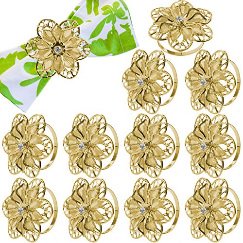 12 Pack Hollow Out Flower Napkin Rings, Gold Serviette Buckle Holder for Easter, Family Gathering, Dinner Party, Wedding Decor (Hollow Out Flower)