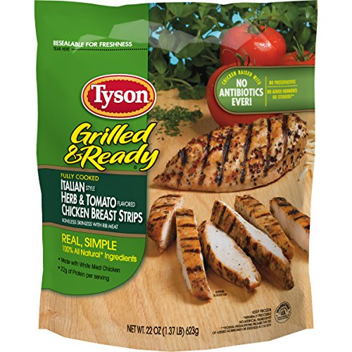 Tyson, Grilled and Ready, Italian Herb & Tomato Chicken Strips, 22 oz (Frozen)