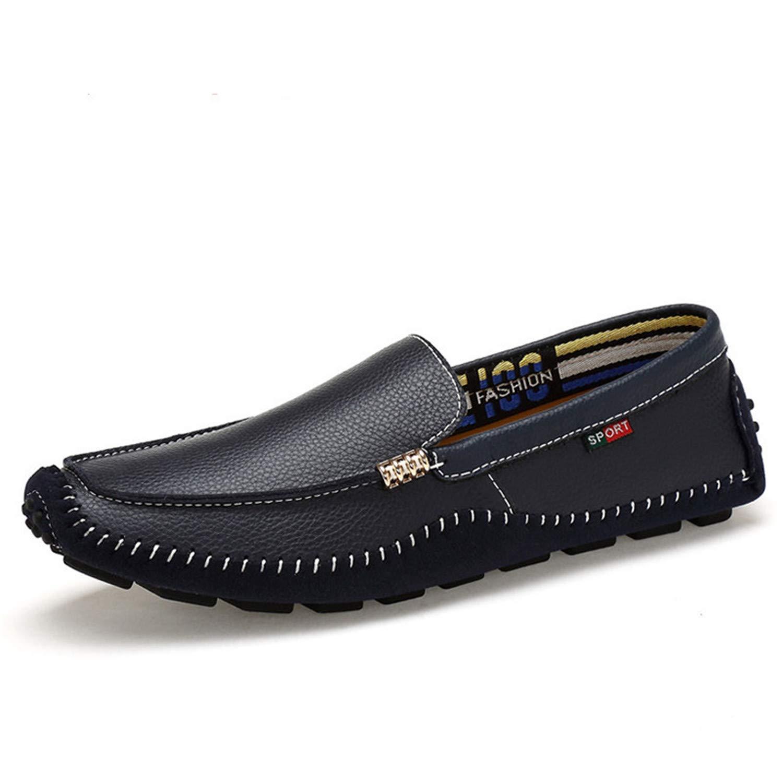 Successg Echtes Leder Mann Loafers Designer Slip on Driving Schuhe Männer Hohe Qualität Luxus Weiche Wohnungen Große Größe Style2 Blau Loafers