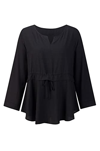 Beauty7 Camisetas Mujer Verano Algodon Atada a la Cintura Mangas Larga Cuello Redondo Vestido Corto ...