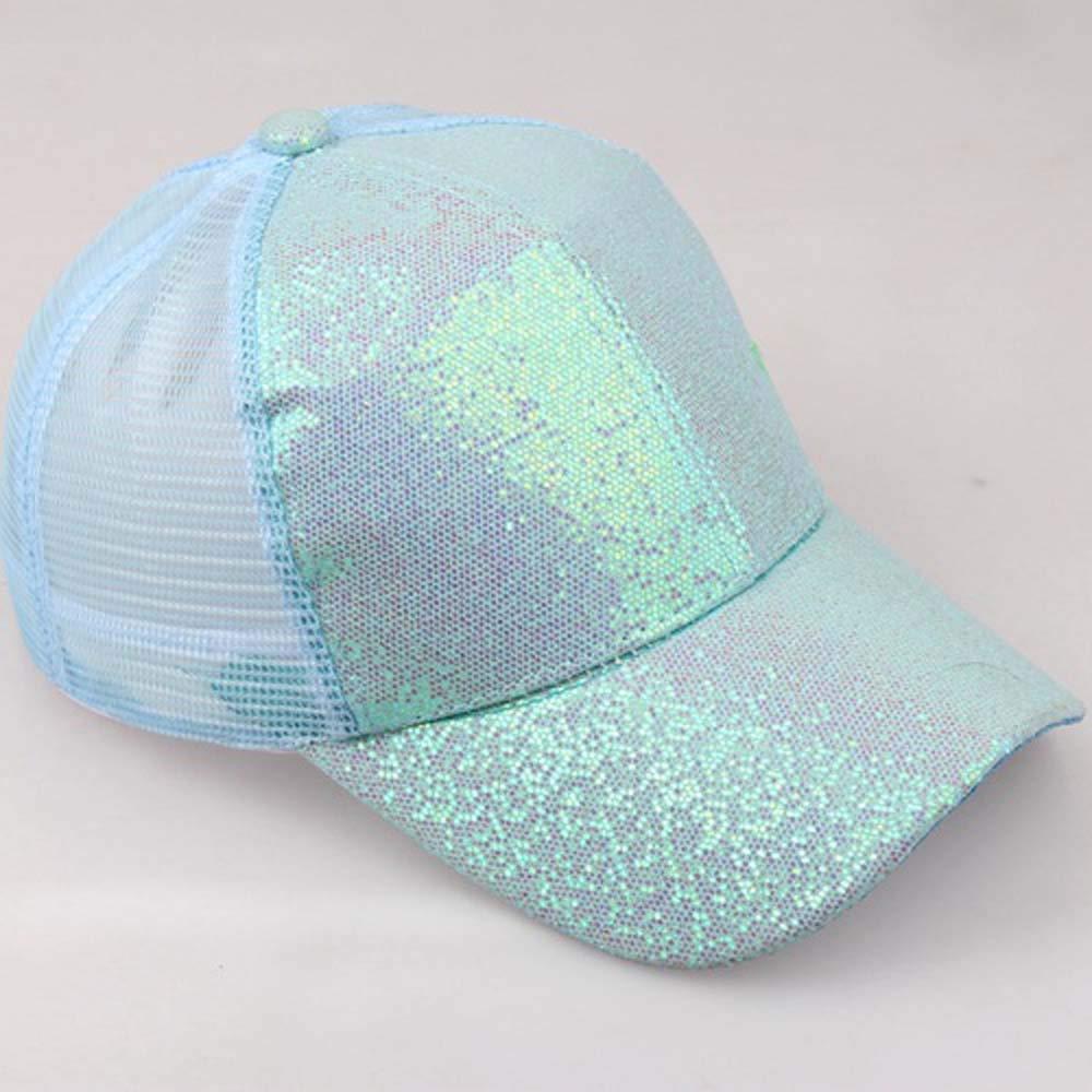 HTDBKDBK Hat for Women Girl Ponytail Baseball Cap Sequins Shiny Messy Bun Snapback Hat Sun Caps Blue by HTDBKDBK (Image #2)