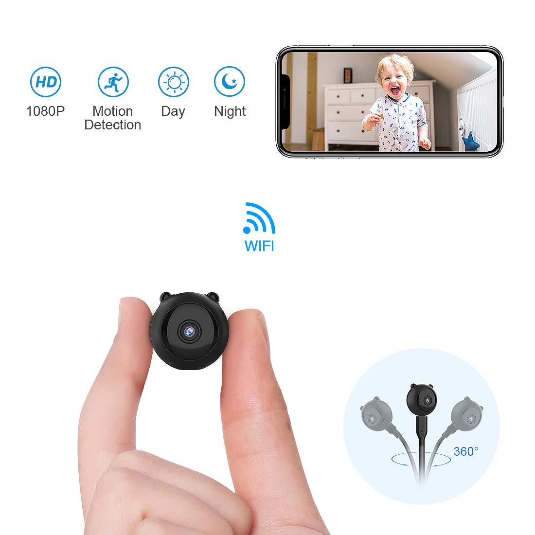 Mini Cámara Espía Oculta AOBO 1080P HD WiFi Cámara Portátil con Visión Nocturna y Conexión Remota Desde iPhone/Android Phone/iPad/PC Camaras IP de ...