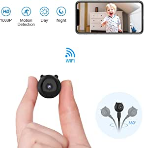 AOBO Spy Hidden Camera Mini Wireless WiFi Camera HD 1080P Indoor Home Smallest Spy Nanny Cam Security Cameras Battery Powered with Motion Detection/Night Vision for iPhone/Android Phone/iPad/PC