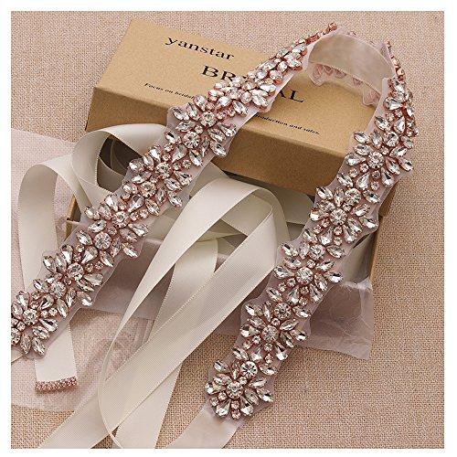 Yanstar Handmade Rose Gold Beads Wedding Belts Sashes Cream Bridal Belt Sash with Rhinestones …