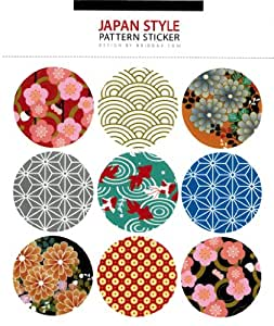 """LSW Set of 36 """"Japanese Style"""" Round Pattern Stickers [4 sheets of 9 stickers]"""