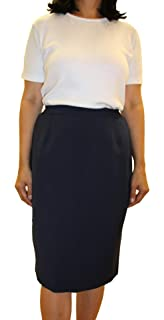 8ac49b44ce Emma Collections Womens Basic Plain Straight Lined Skirt UK 10 12 14 16 18  20 22