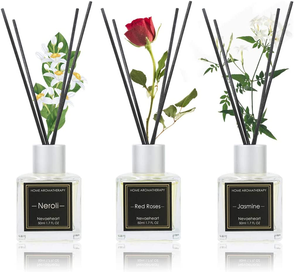 NEVAEHEART Reed Diffuser Set of 3, Reed Diffuser for Office Home Decor, Jasmine Rose Neroli Oil Reed Diffuser with 18 Diffuser Sticks, Reed Diffuser Oil Refill for Gift & Stress Relief, 1.7oz x 3