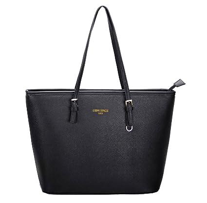 1dd6f13c9c880 LI&HI Élégant Sac à Main Noir Femme Sac Bandouliere Vintage Gros Sac Cabas  Noir - 33x28x15cm