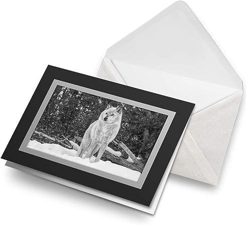 Fashion animal loup habillé en blanc Carte de vœux avec Enveloppe