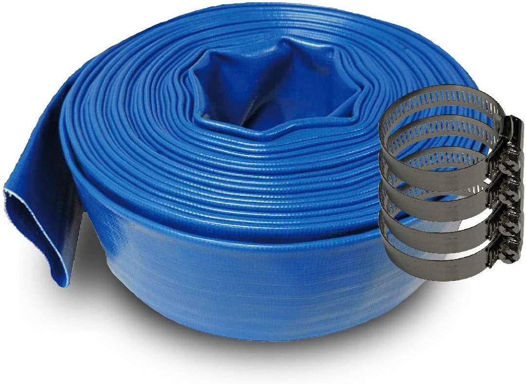 SCHRAIBERPUMP 1.5-Inch by 200-Feet- General Purpose Reinforced PVC Lay-Flat Discharge and Backwash Hose - Heavy Duty (4 Bar) 4 Clamps Included