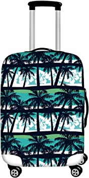 Tropical Palm Leaves Leopards Travel Luggage Cover Spandex Washable Suitcase Protective Cover Baggage Protector Fit 18-32 inch Suitcase