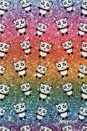 Journal: Faux rainbow glitter panda notebook Brothergravydesigns