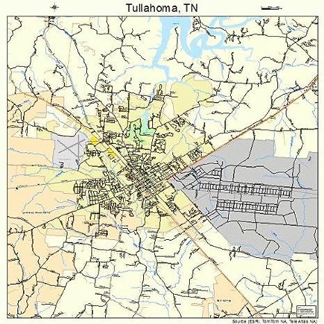 Amazon.com: Large Street & Road Map of Tullahoma, Tennessee TN ...