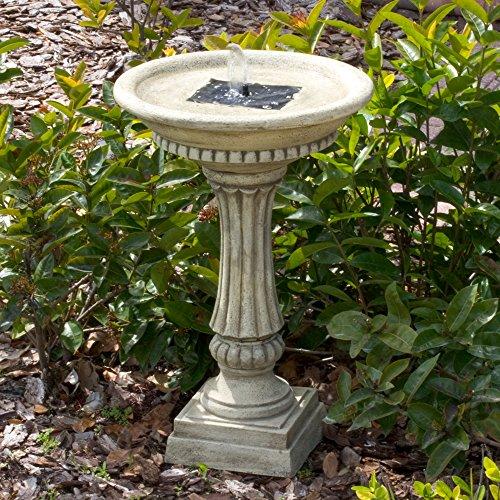 Smart Solar 27686M01 Ashbourne Granite Style Solar Birdbath Water Fountain with Integrated Underwater Integral Solar Panel and Pump System