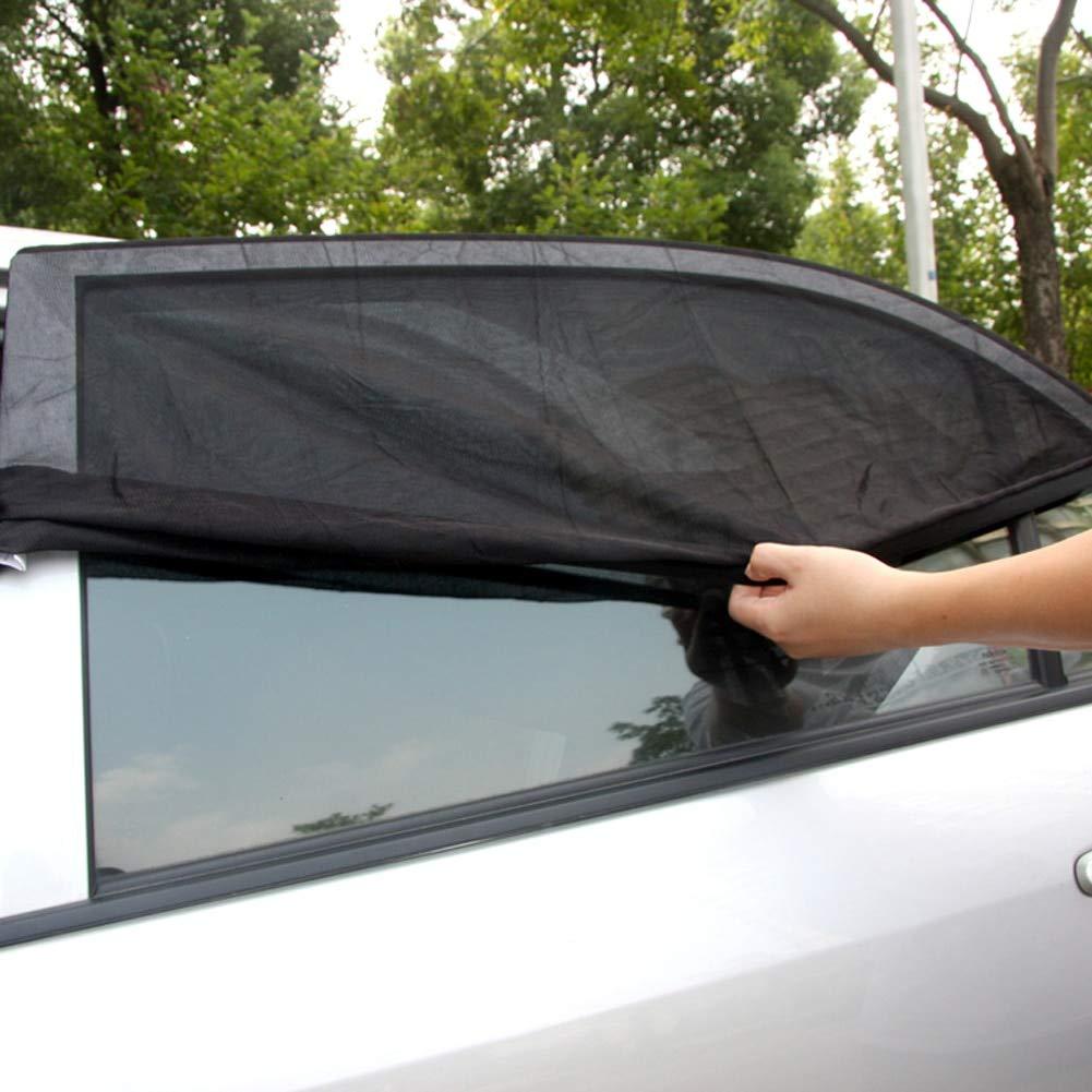 DeemoShop 2PCS Adjustable Adjustable Auto Car Side Rear Window Sun Shade Black Mesh Car Cover Visor Shield Sunshade UV Protection