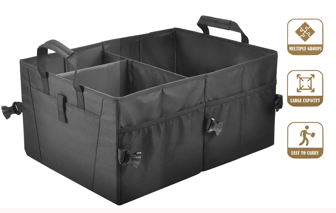 Car Trunk Organizer for Car Suv Trunk Organizers,Collapsible Trunk Cargo Storage Organizer, Car Accessories, Auto Grocery Organize Box, Vehicle Tools or Truck Storage Case. Storage bin (M1) by Amor Family
