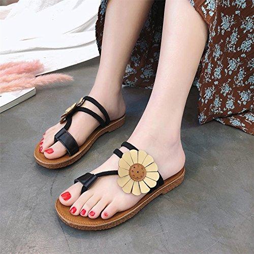 Anti Ronde Roman Femmes Plat Chaussures Tête CYBERRY Chaussures DéRapage M Noir Fleur Talon Sandales Slipper Plage Mode nwCZ7UqYF