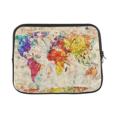 2062b9a5f136 Amazon.com: InterestPrint Grunge Map of The World Laptop Sleeve Case ...
