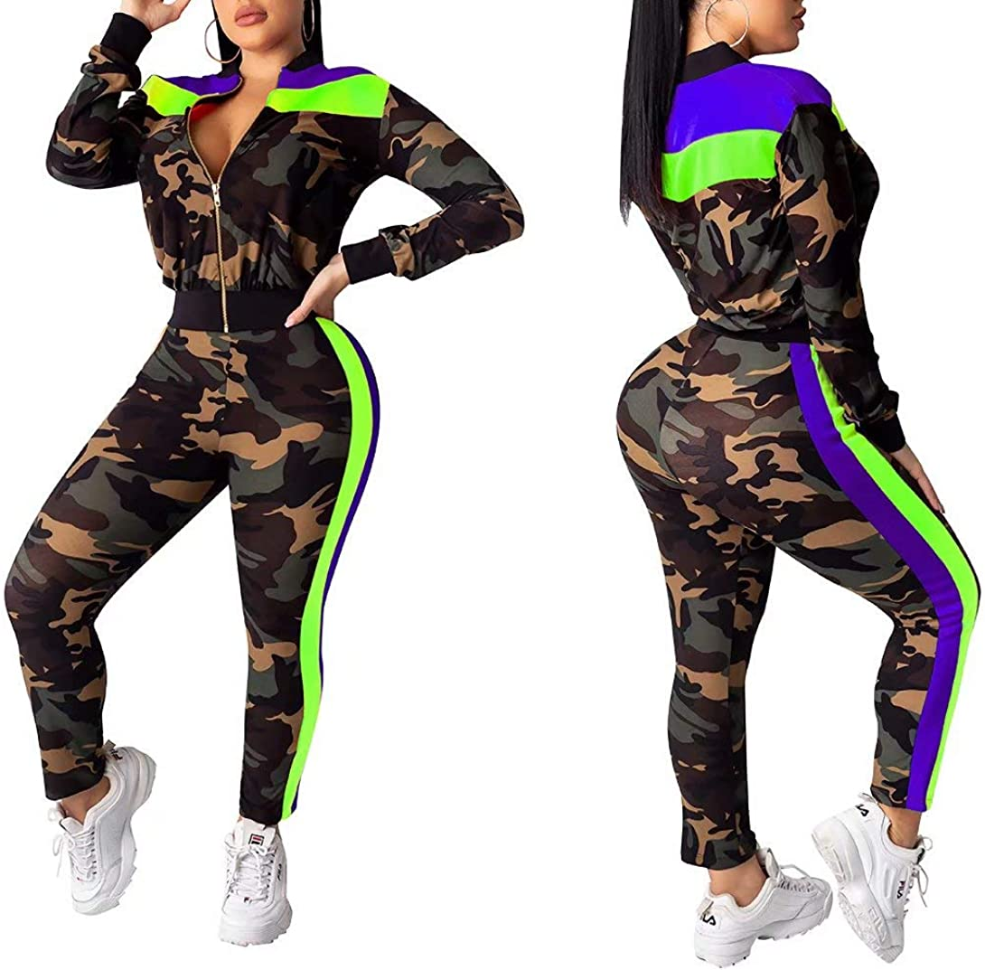 Womens Outfits Camouflage Print Long Sleeve Jacket Tops Skinny Long Pants Clubwear Set