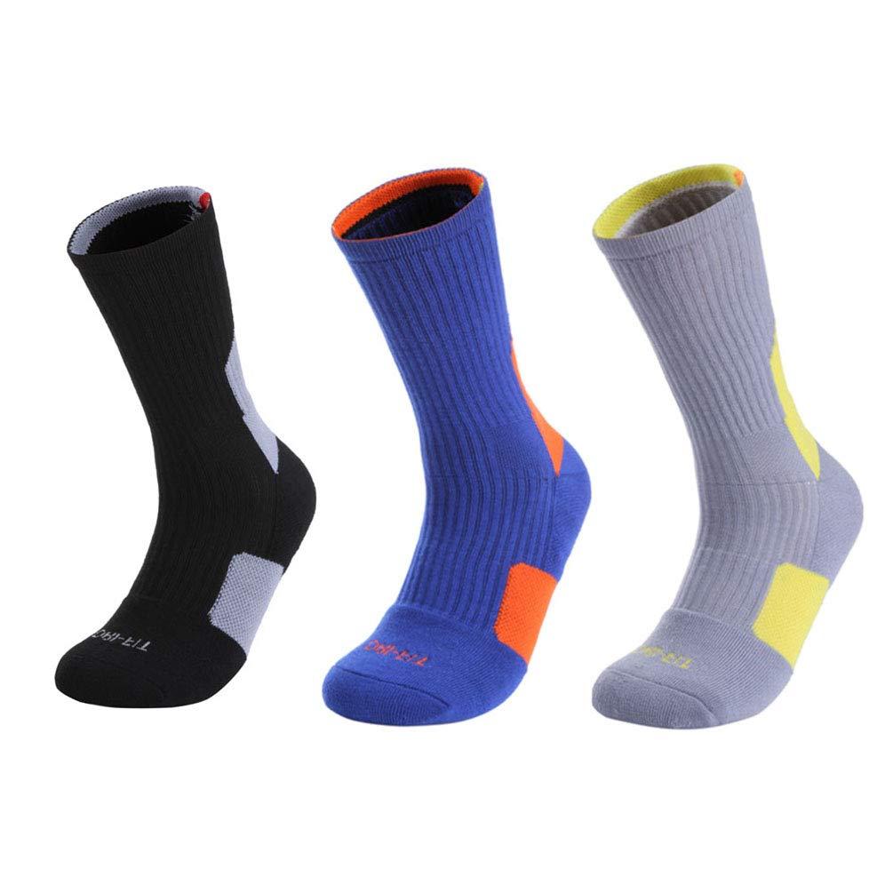 Unisex Cushioned Socks Running Basketball 3//5 Pairs Yuntown Sports Crew Socks