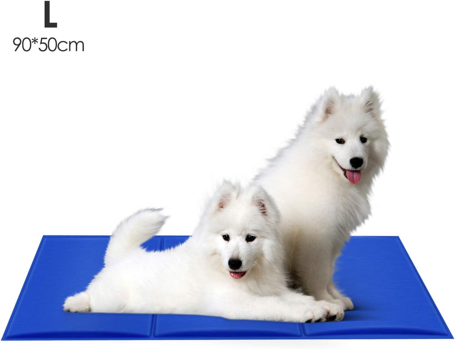 PEDY Alfombrilla de Refrigeración para Perros y Gatos, 90 x 50cm Alfombra Refrescante, Enfriamiento para Camas de Mascotas, Gel no Tóxico, Autoenfriante, Impermeable y Resistente a la Rotura