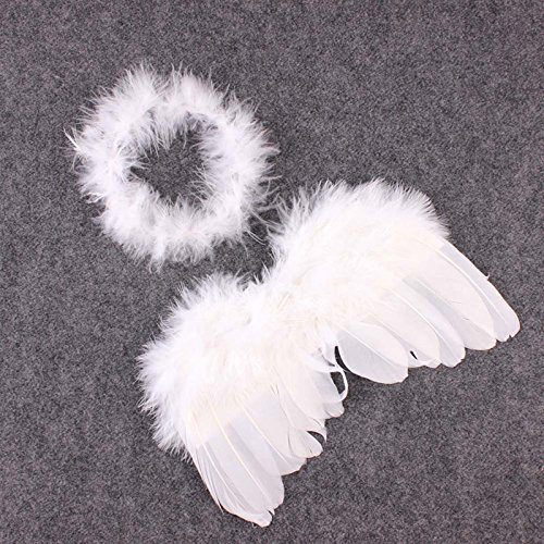 [Kocome Newborn Baby Infant Angle Wings Costume Photo Photography Props Outfits White] (Baby Angel Wings Costumes)