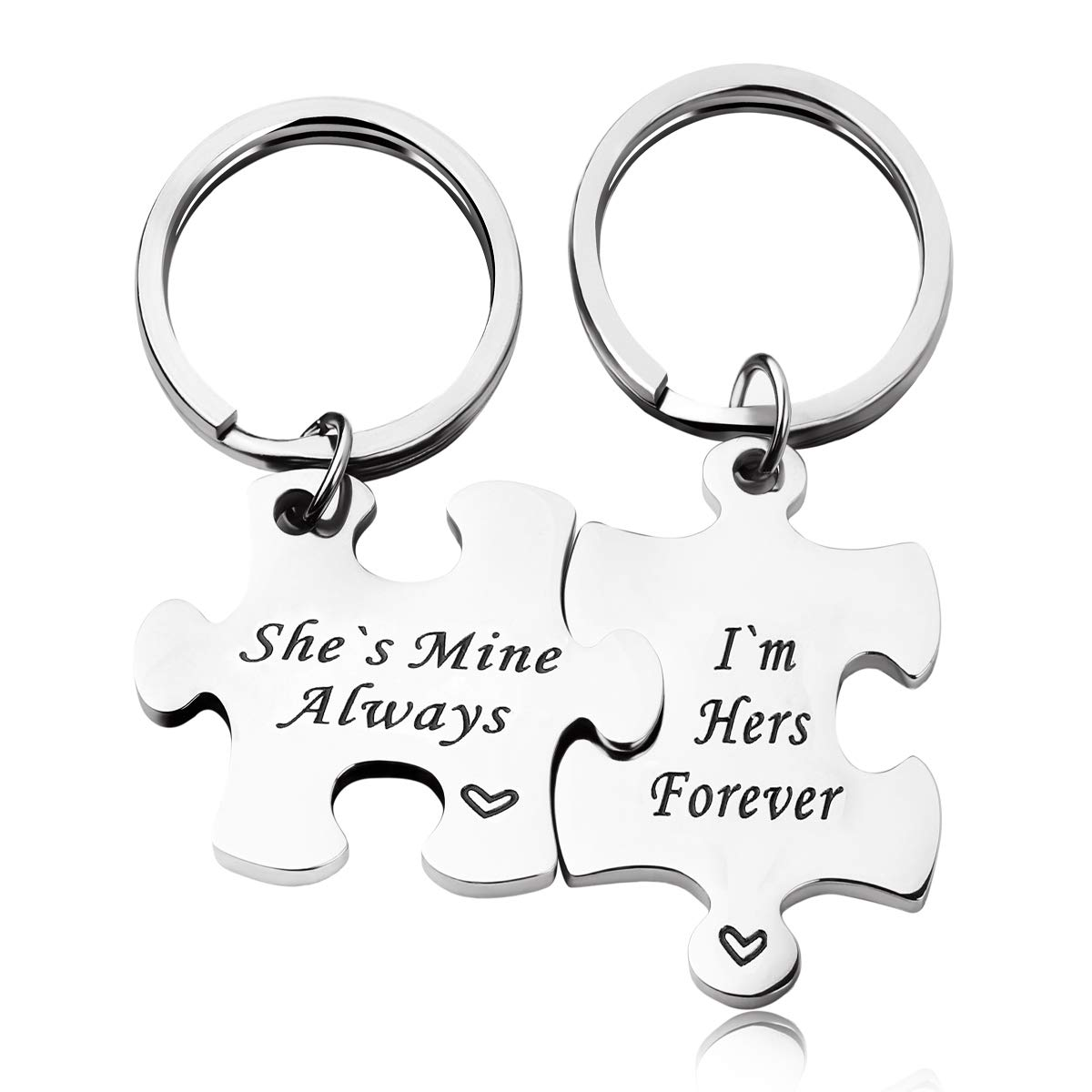 c4001c812c Amazon.com: RUNXINTD Personalize Your Own His and Her Puzzle Piece Necklace  Key Ring Set You are My Missing Piece Personalized Message Jewelry (I`m  Hers ...