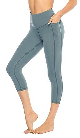 f47c476425450c JOYSPELS Blickdichte Sport Leggins für Damen Sommer, 4 Farben Yoga Leggings  mit Handytasche 3/4 Yogahose Capri Fitnesshose Sporthose