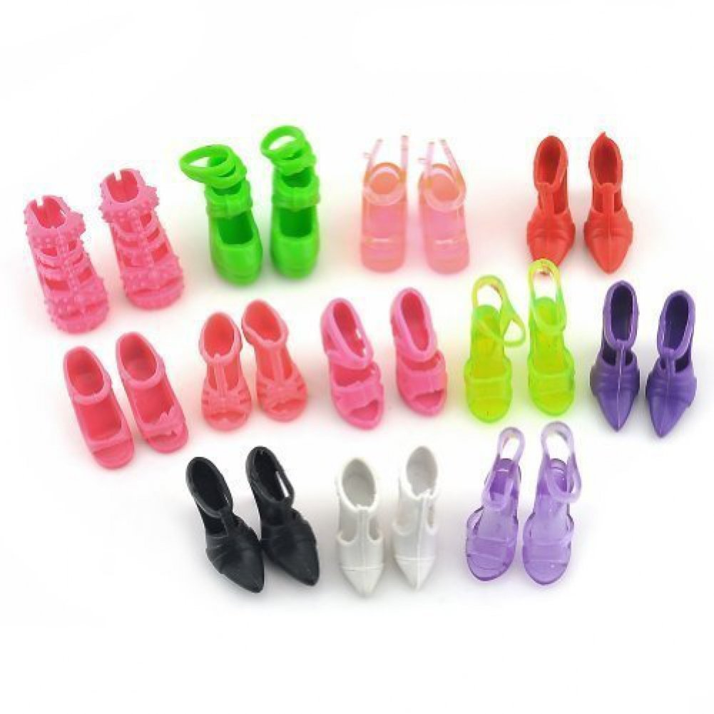 10 Pairs of Doll Shoes Fit Barbie Dolls Style and Color May Vary