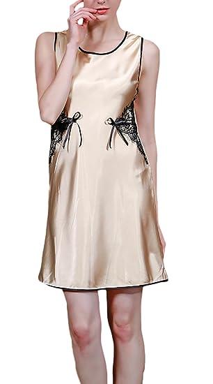 Pijamas Mujer Cortas Verano Elegante Sin Mangas Cuello Redondo Lace Vestido Pijama Moda Casuales Color Sólido