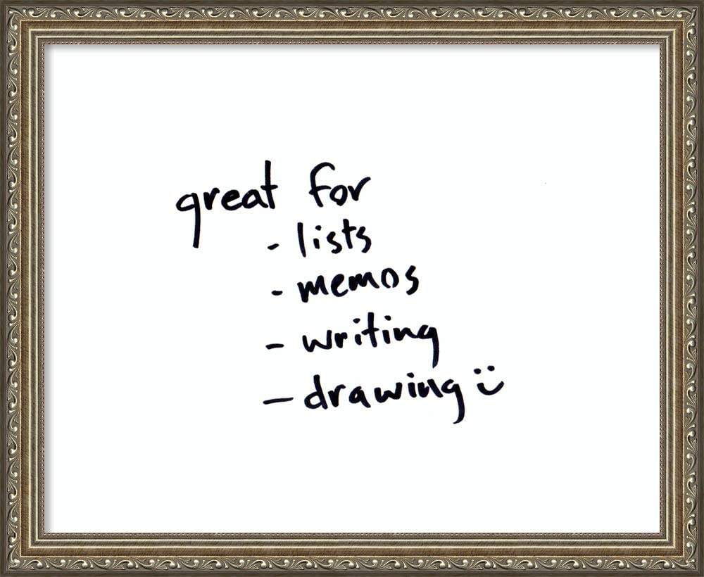 Framed Glass White Board   Glass Dry Erase Board Small White, Parisian Silver   Traditional Framed Home Office Board   Framed Organization Board   Small 22.25 x 18.25 in.